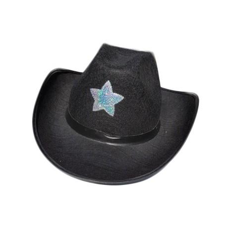 Kovbojský klobouk černý s hvězdou 97472a0fa0