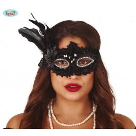 Černá flitrová maska s peřím