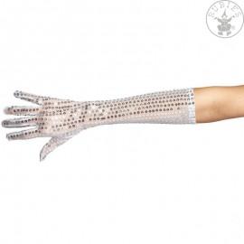 Rukavice s flitry dlouhé stříbrné 42 cm D