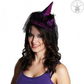Čarodějnický klobouček s vlasovou sponou fialový X