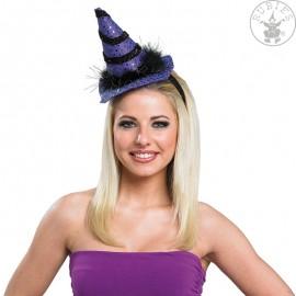 Čarodějnický mini s vlasovou sponou fialový D