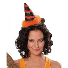 Čarodějnický mini s vlasovou sponou oranžový D
