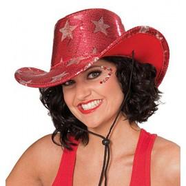 Kovbojský klobouk s hvězdami červený