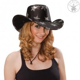 Kovbojský klobouk s hvězdami černý D