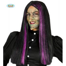 Paruka čarodějnice černo-fialová