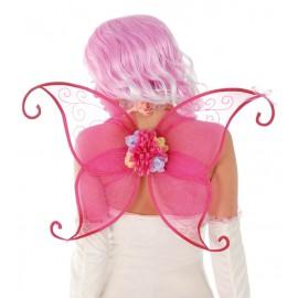 Křídla růžová s květinou 45 cm