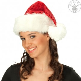 Vánoční čepička flitrová