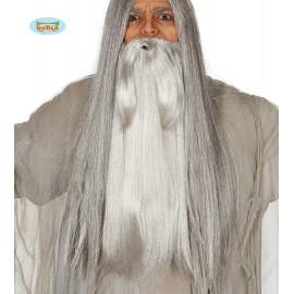 Velké vousy šedé vlasové