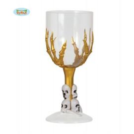 Pohár se zlatou hnátou a lebkami 18 cm D