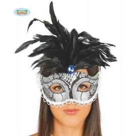 Maska stříbrná s peřím D