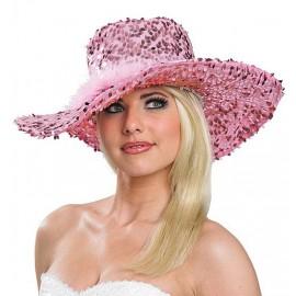 Dámský klobouk s flitry růžový D
