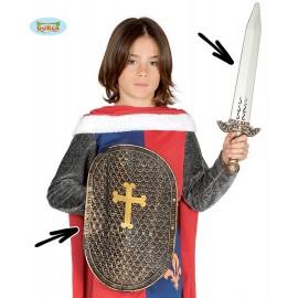 Rytířský štít plastový s mečem