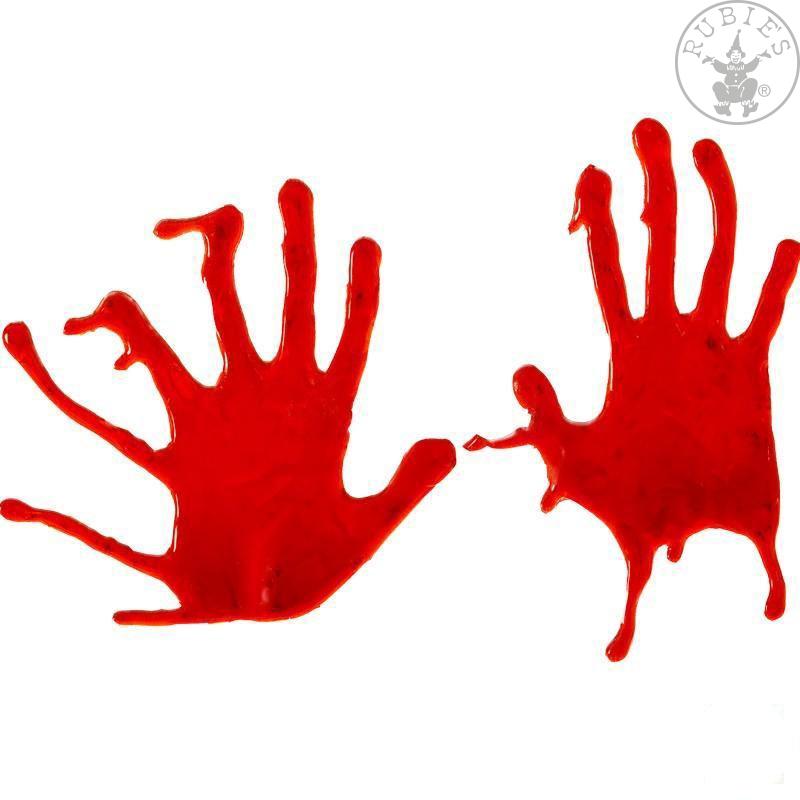 Dekorace na sklo - krvavé ruce
