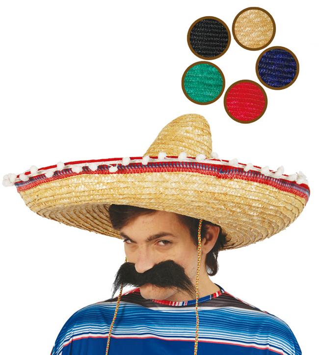 Mexický klobouk s pompony D