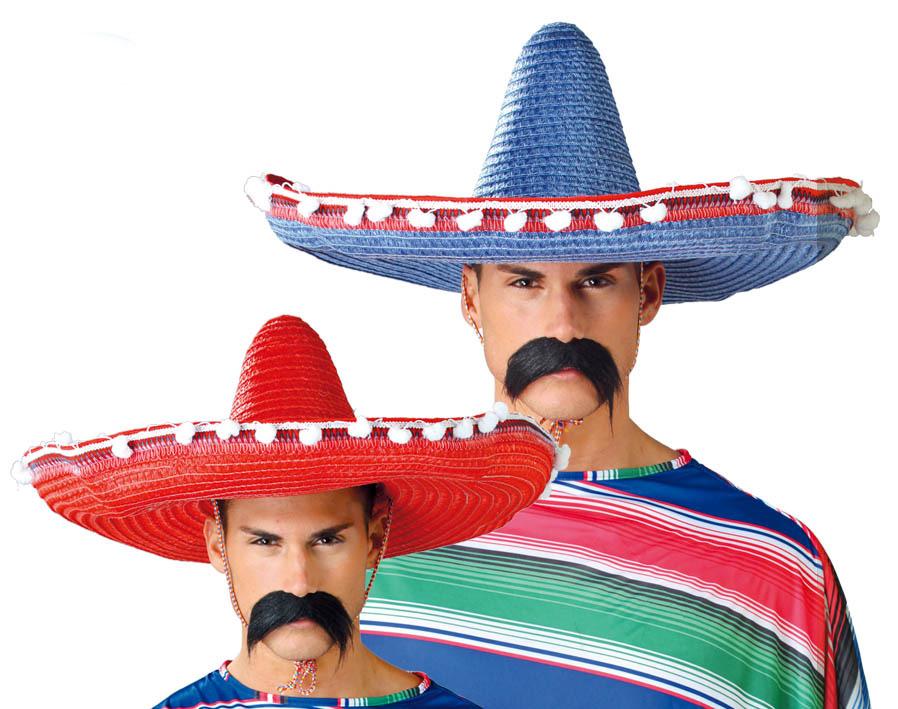 Mexické klobouky s pompony color mix 61 cm