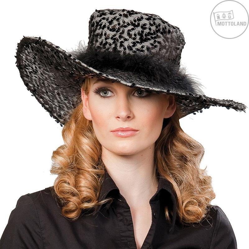 Dámský klobouk s flitry černý D